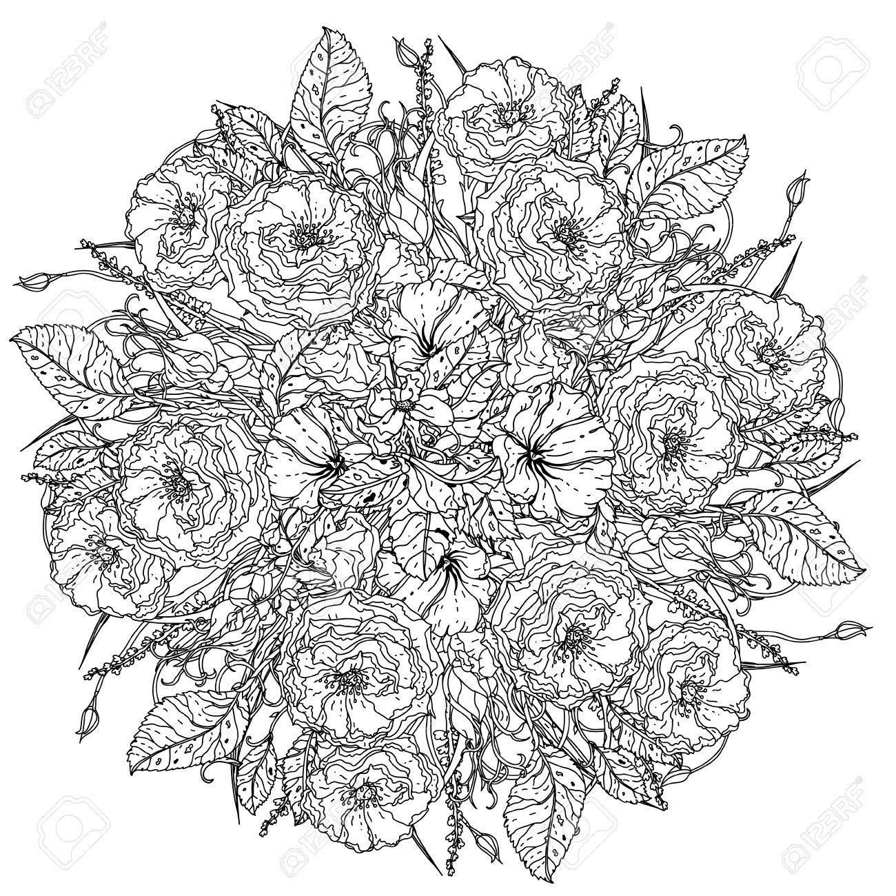 Fleurs De Luxe Bouquet En Forme De Mandala Pour Livre De Coloriage Pour Adultes Ou Pour Zen Art Therapie Dessin Anti Stress Hand Drawn Vecteur Mandala Uncolored Detaillee Pour Le Livre De Coloriage T Shirt