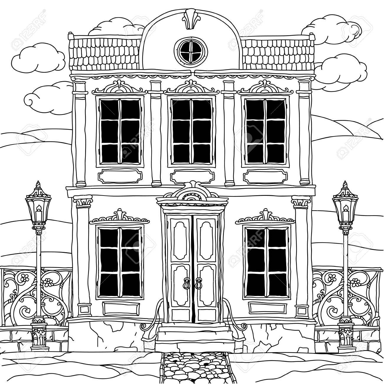 House Drawing With Details For Adult Coloring Book Or For Zen ...