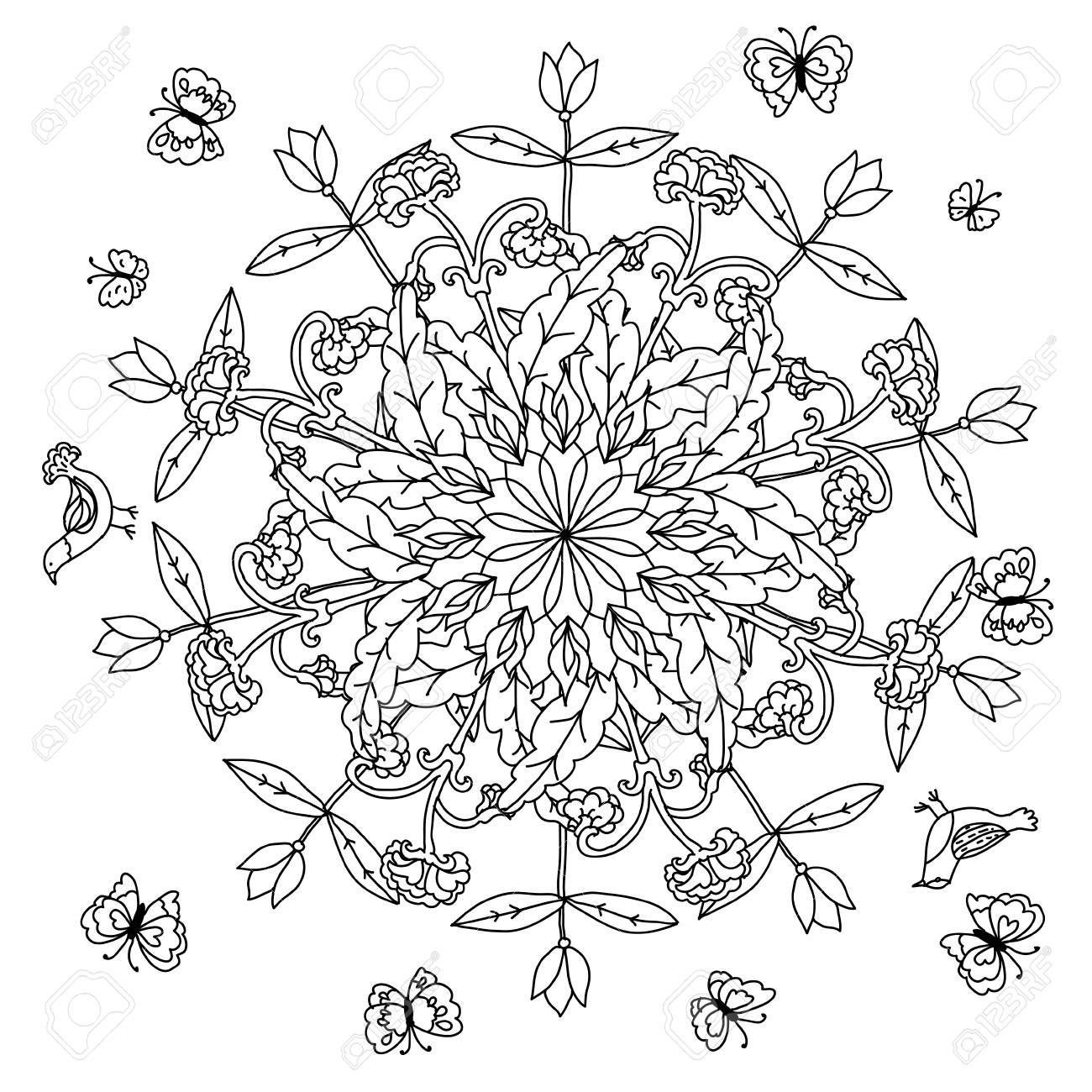 Mandala En Forme De Fleurs Profilees Des Feuilles Et Des Oiseaux