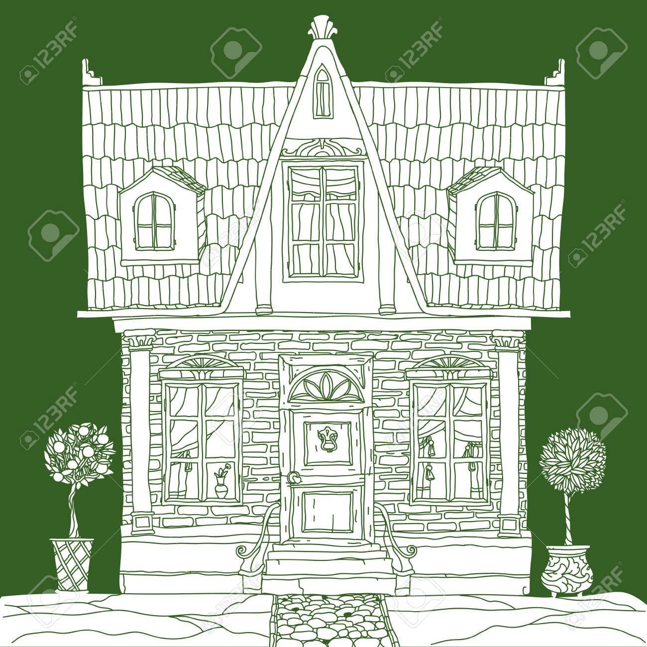Casa Blanca Dibujado A Mano Retro Vector La Mejor Para El Diseño Textiles Libros Para Colorear En El Vector Perfecto Para Invitaciones O