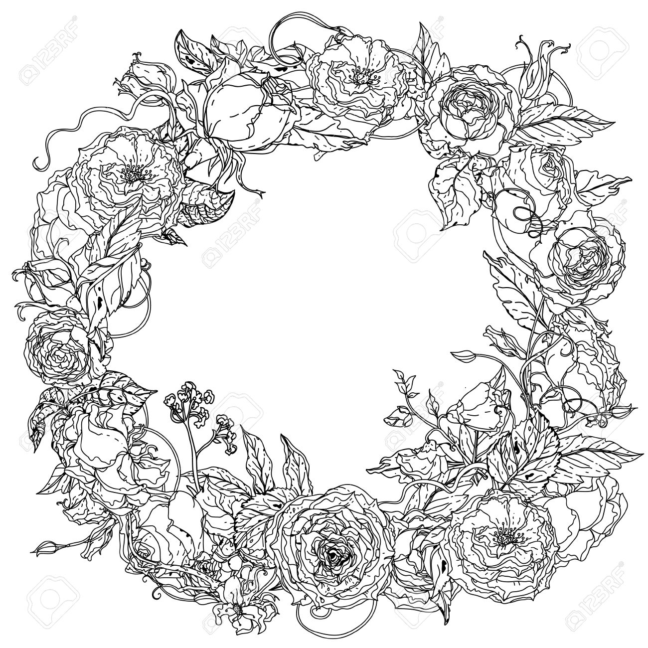 Luxury Flowers Bouquet In Shape Of Mandala For Adult Coloring ...