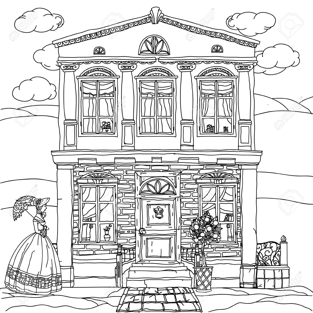 Contoured Black And White Victorian House With A Strolling Woman In Crinoline Vintage Umbrella