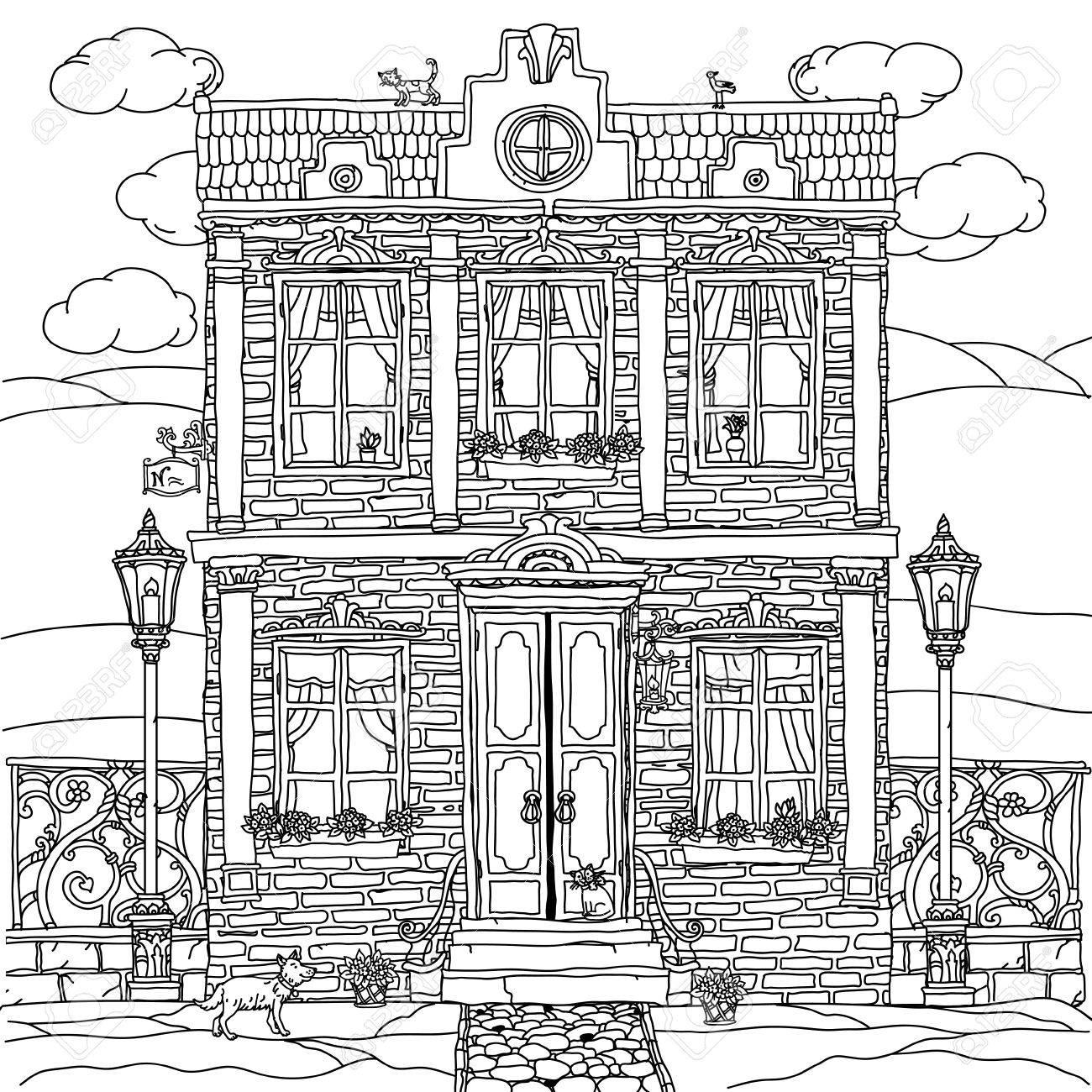 Coloriage Chien Maison.Facade D Une Maison Avec Des Fleurs Des Plantes Chat Et Chien Pour