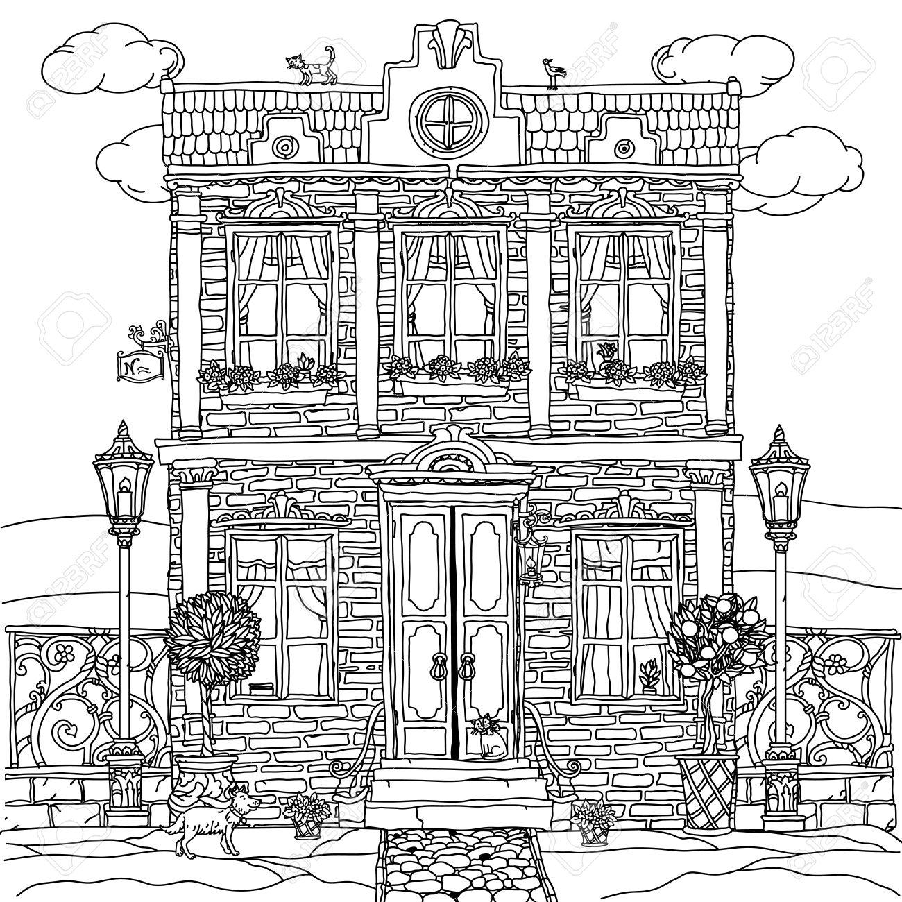 coloriage anti stress maison