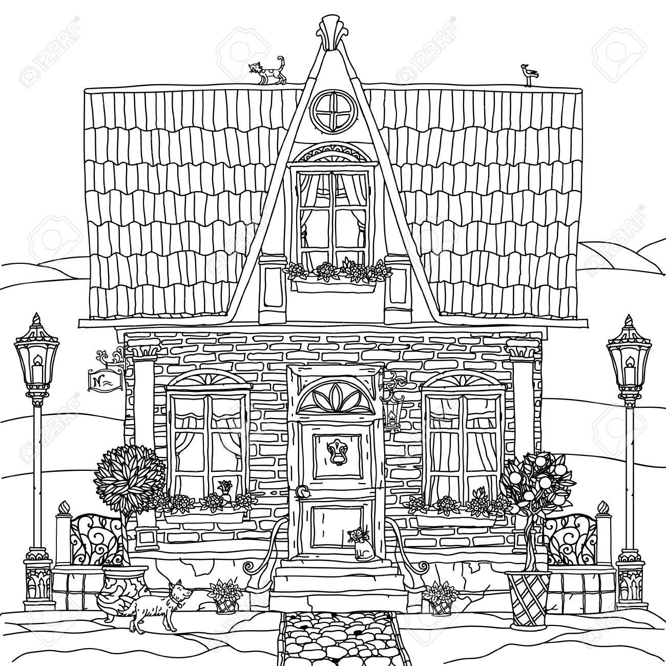 Frontage Of A House With Flowers Plants Cat And Dog For Adult Coloring Book