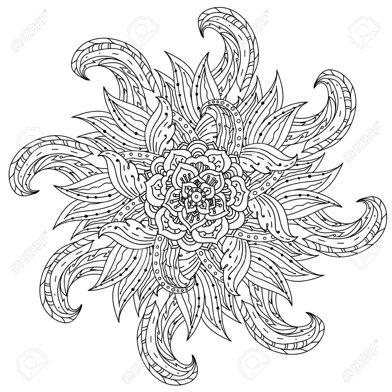 Contoured Mandala Shape Flowers For Adult Coloring Book In Zen ...