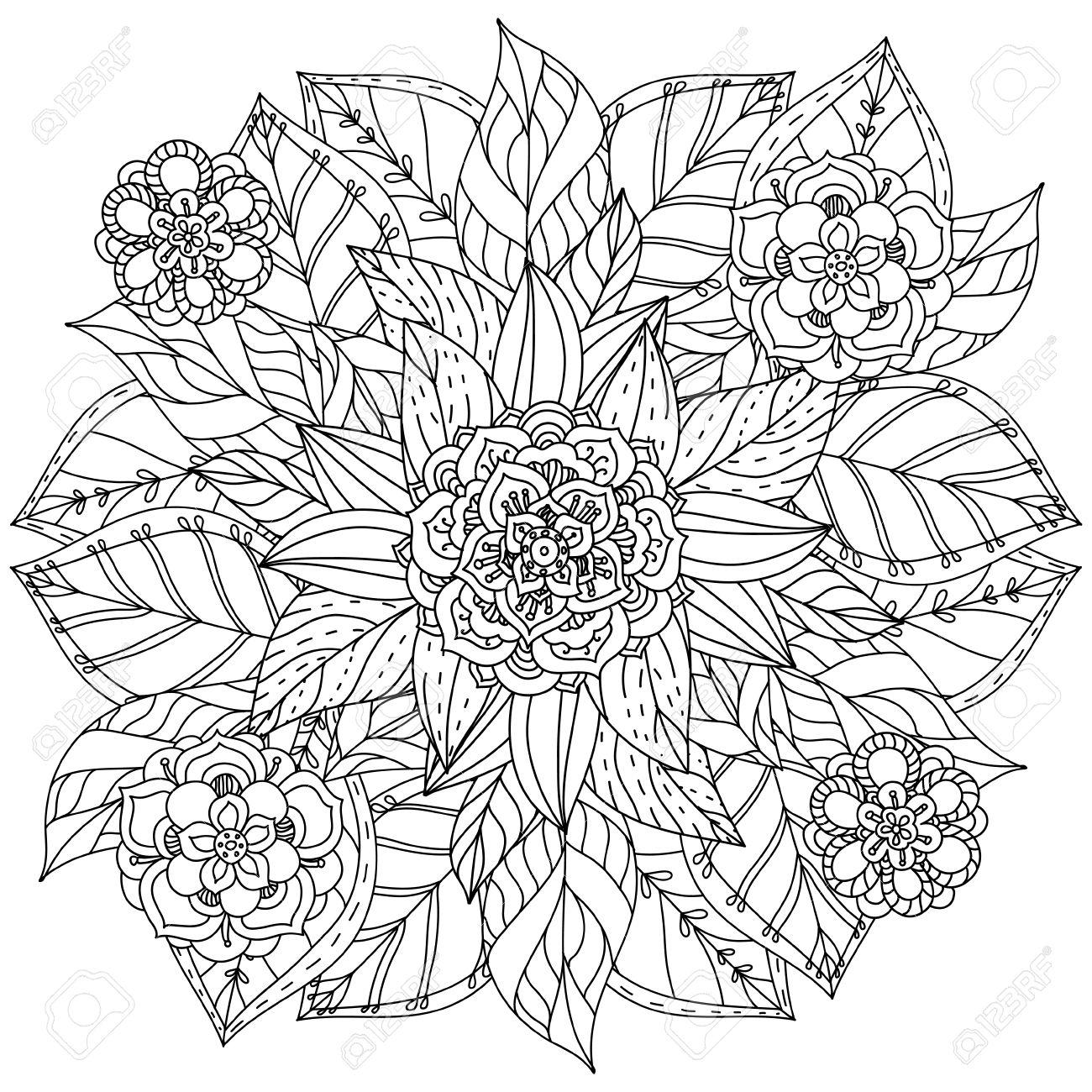 Coloriage Fleur Zen.Fleurs De Forme De Mandala Profilees Pour Adulte Livre De Coloriage