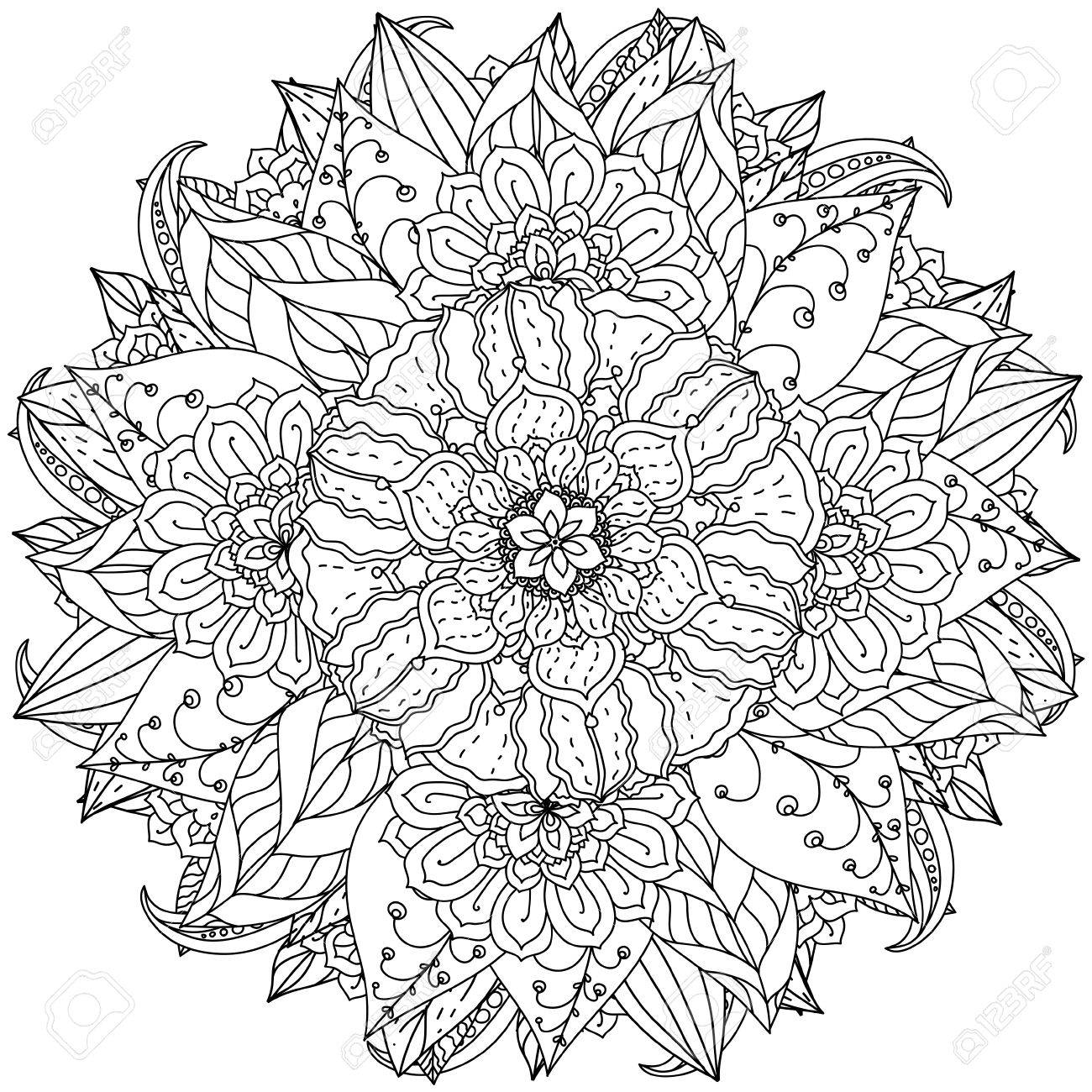 Zen coloring flowers - Vector Contoured Mandala Shape Flowers For Adult Coloring Book In Zen Art Therapy Style For Anti Stress Drawing Hand Drawn Retro Doodle Vector