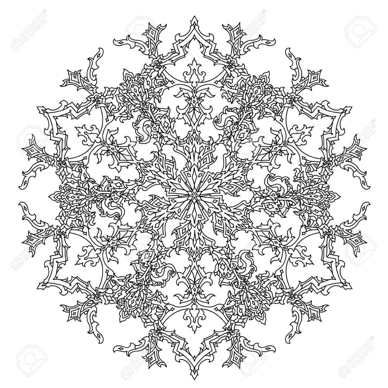 Vettoriale Circle Ornamento Dei Fiocchi Di Neve A Forma Di Mandala