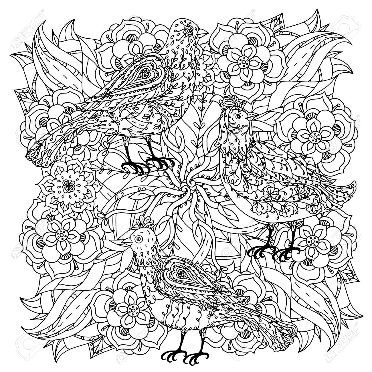 Profilees Fleurs De Forme De Mandala Et Les Oiseaux Pour Adultes