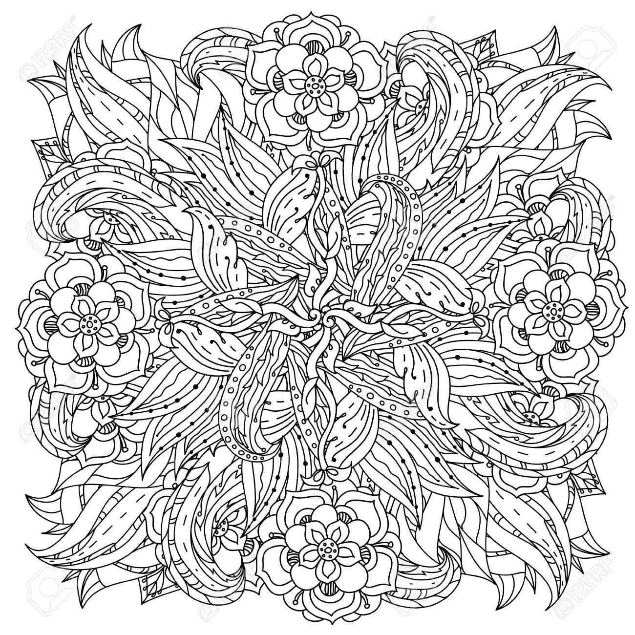 Coloriage De Mandala Pour Adulte.Fleurs De Forme De Mandala Profilees Pour Adulte Livre De Coloriage