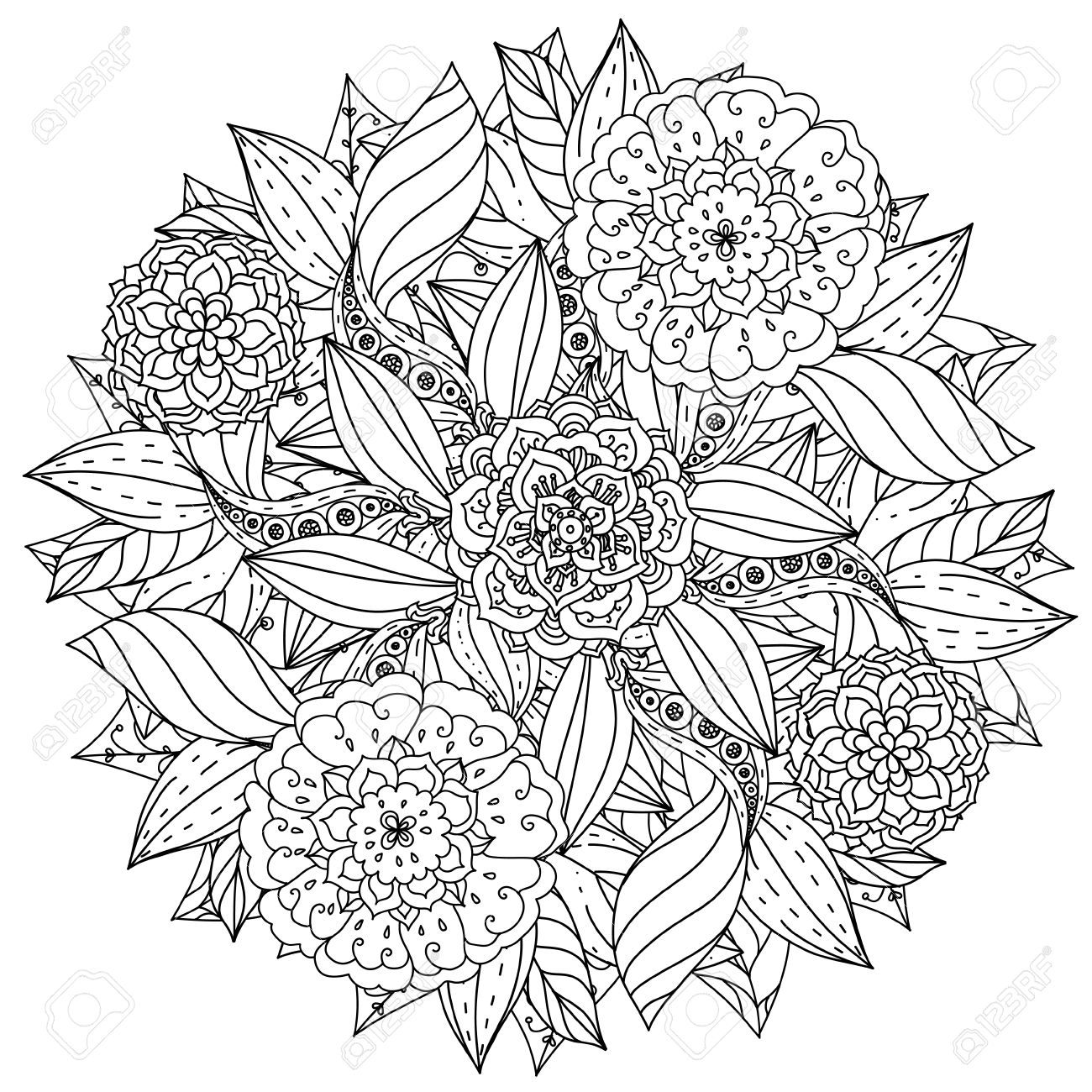 アンチ ストレス図面の禅芸術療法スタイルで大人の塗り絵の輪郭を描かれ