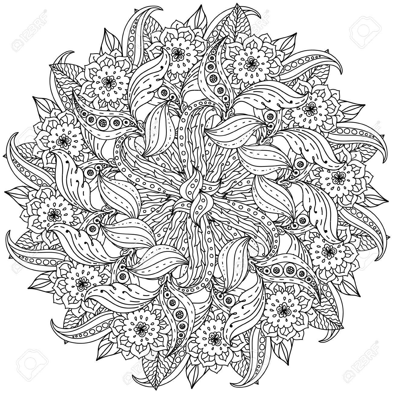Zen colouring in book - Vector Contoured Mandala Shape Flowers For Adult Coloring Book In Zen Art Therapy Style For Anti Stress Drawing Hand Drawn Retro Doodle Vector