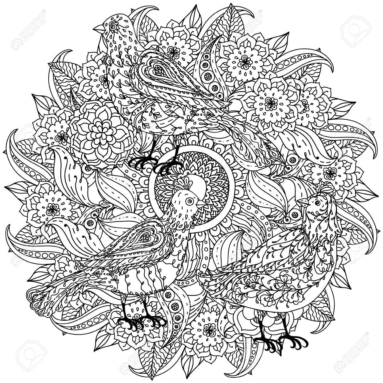 Contoured Mandala Shape Flowers And Birds For Adult Coloring ...