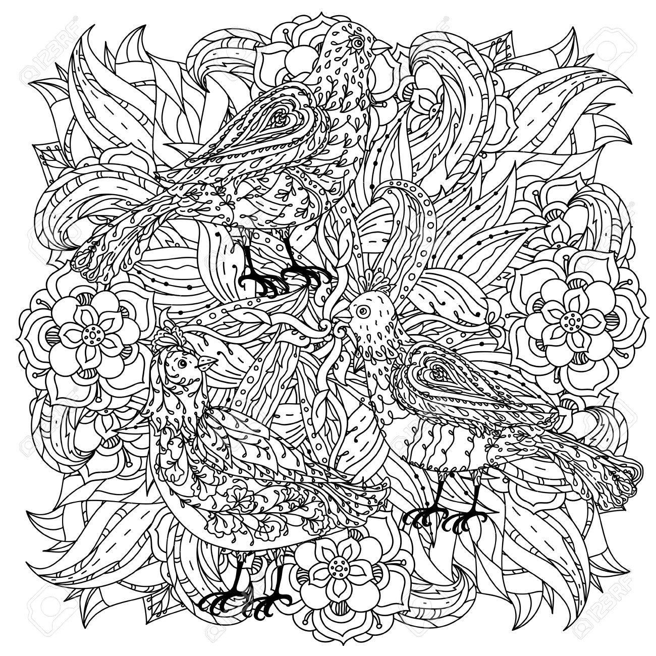 Contorneadas Flores Y Pájaros Forma De Un Mandala Para Colorear De