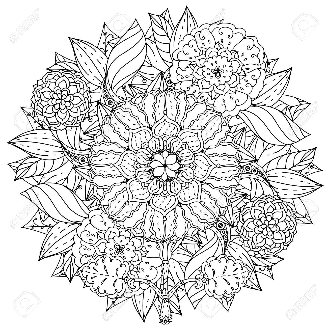 Fleurs De Forme De Mandala Profilees Pour Adulte Livre De Coloriage Dans Le Zen Style Art Therapie Anti Dessin Stress Hand Drawn Retro Griffonnage Vecteur Style Mandala Pour Le Livre De Coloriage Ou De