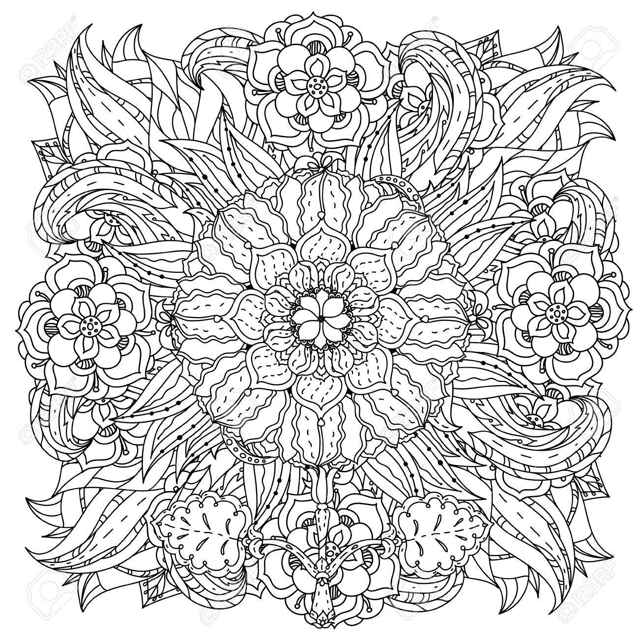 Fleurs De Forme De Mandala Profilees Pour Adulte Livre De Coloriage Dans Le Zen Style Art Therapie Anti Dessin Stress Hand Drawn Retro Griffonnage