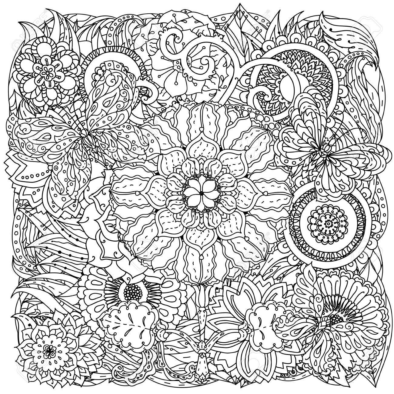 Des Fleurs Et Des Papillons Pour Livre De Coloriage Adulte Ou Style Art Therapie Dessin Zen En Forme De Mandala Profilees Hand Drawn Griffonnage