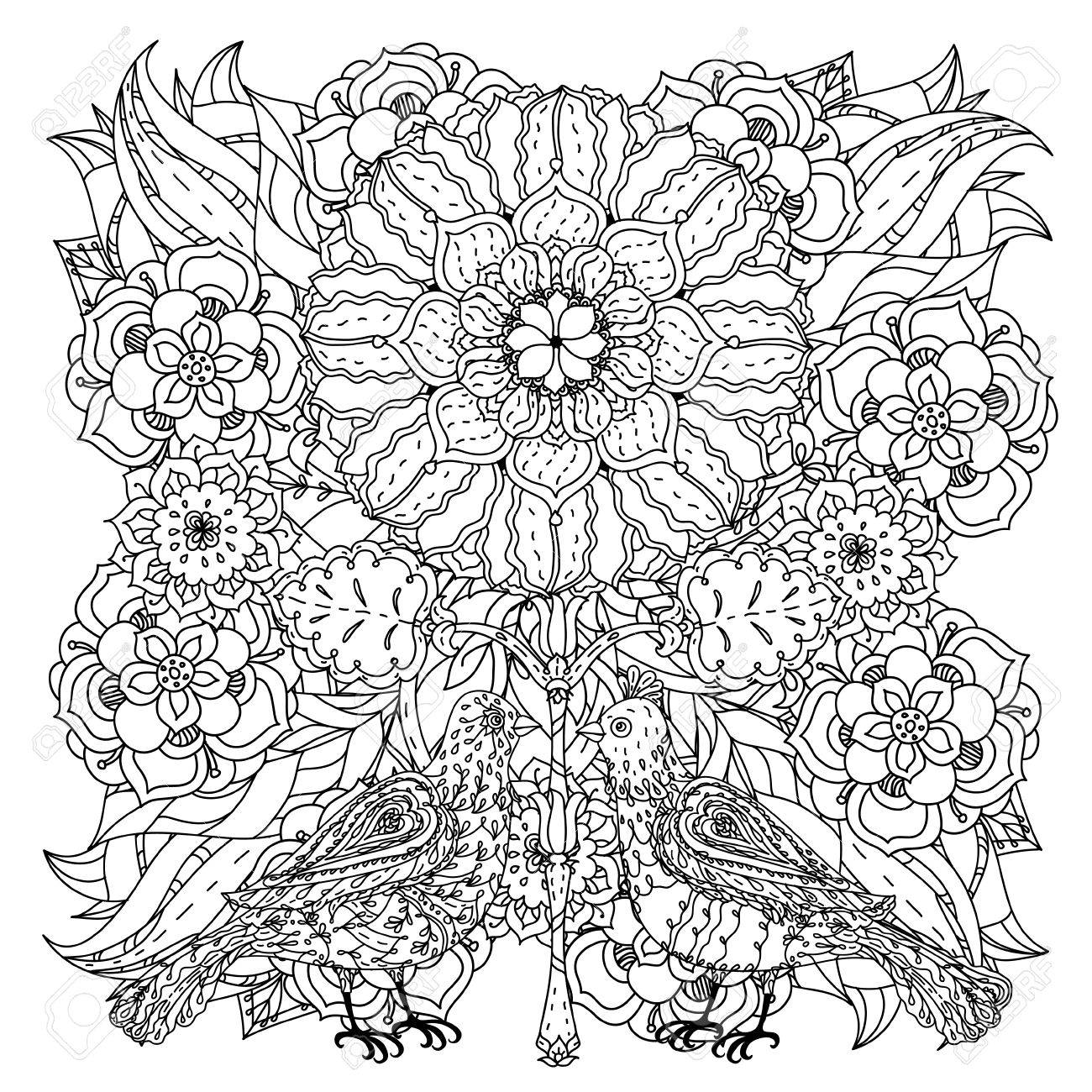 Contoured mandala shaped flowers and birds for adult coloring..