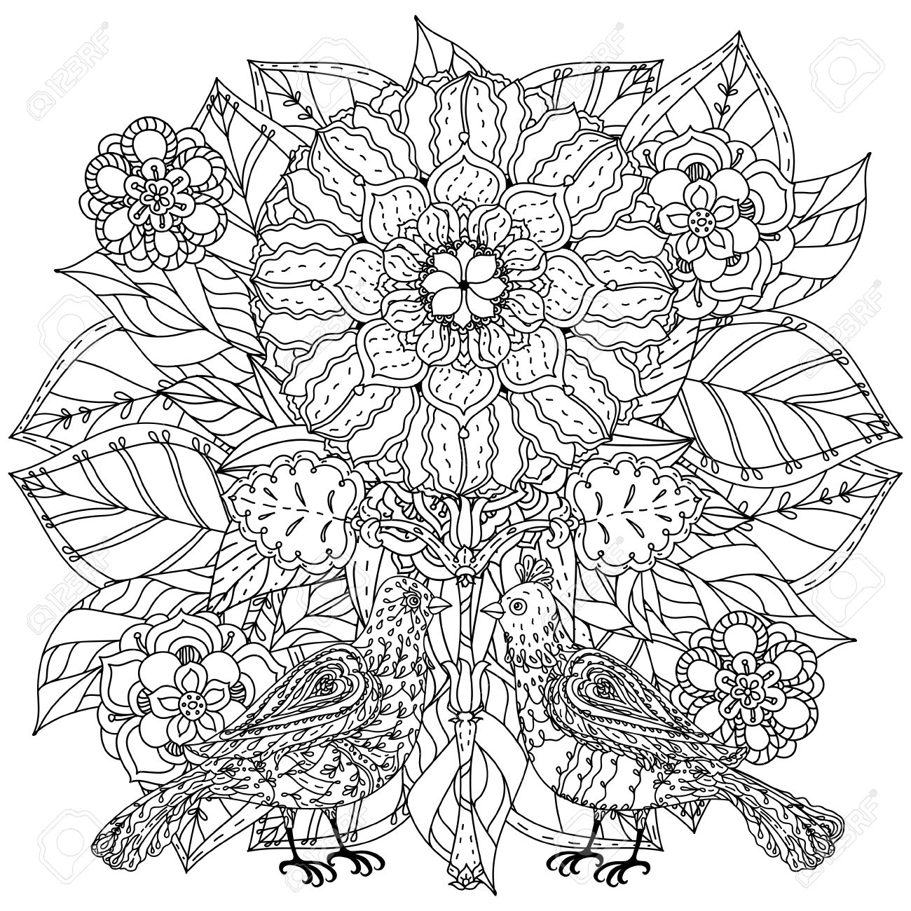Contoured Mandala Shaped Flowers And Butterflies For Adult Coloring ...