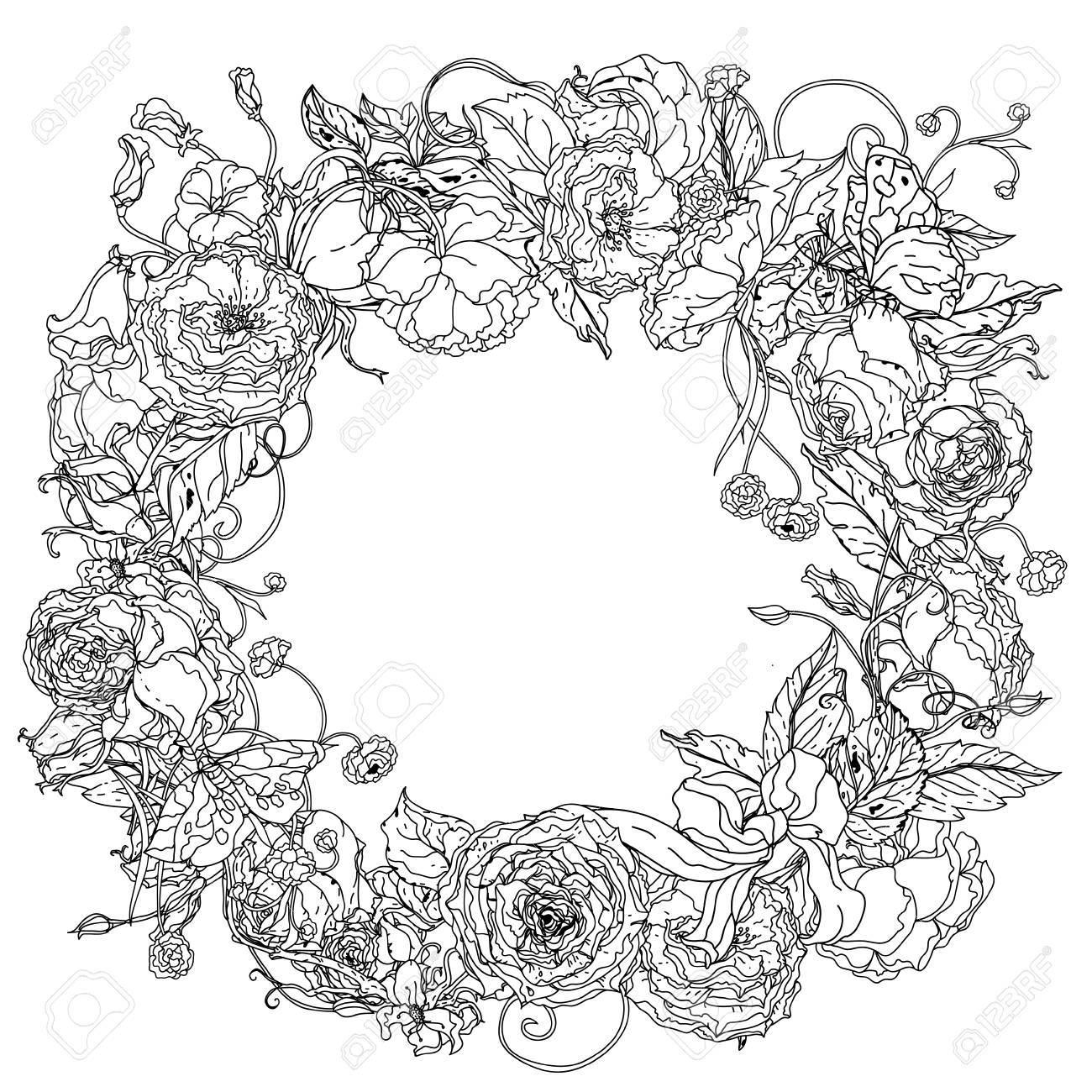 Agraciado Corona De Flores En Forma De Flores De Jardín