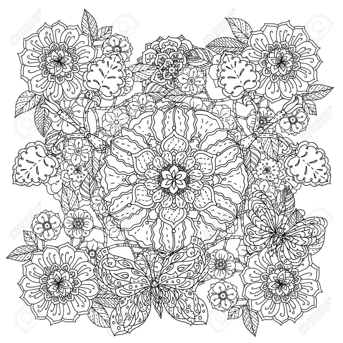 Coloriage Adulte Therapie.Des Fleurs Et Des Papillons Pour Livre De Coloriage Adulte Ou Style
