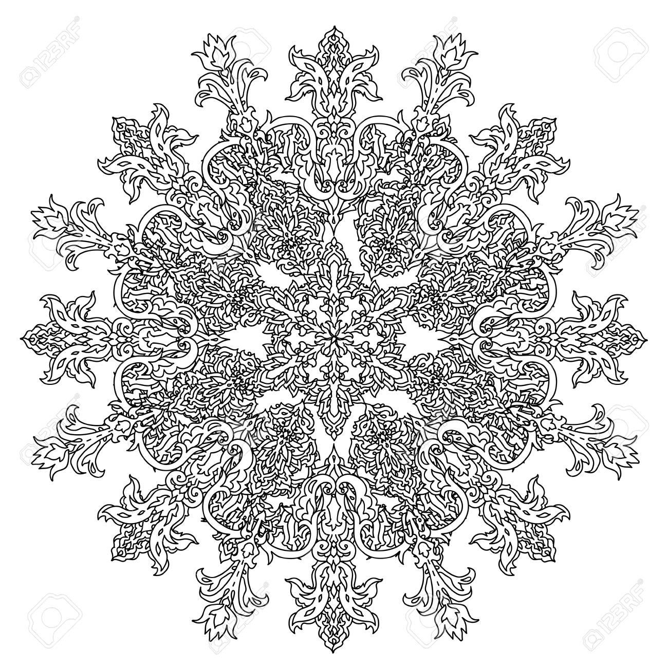 flocons de neige profilées en forme de mandala pour livre de coloriage adulte ou style art