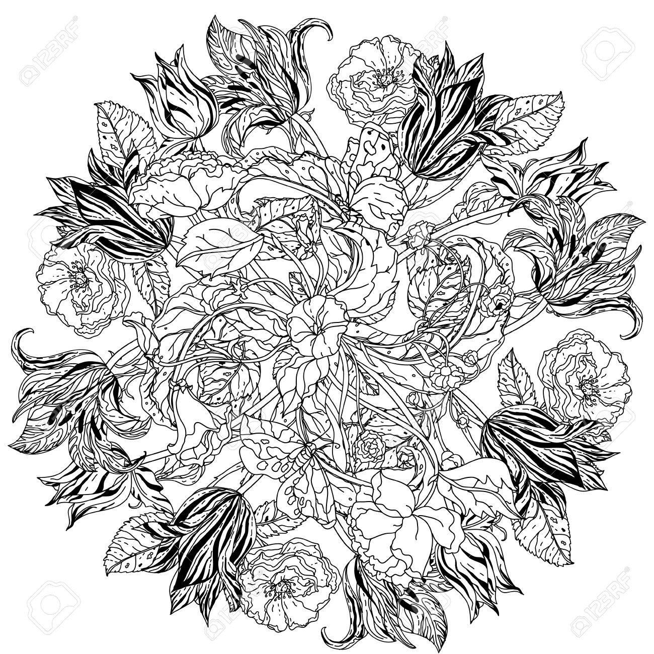 Konturierte Viktorianischen Garten Blumen Und Blätter In Mandalaform ...