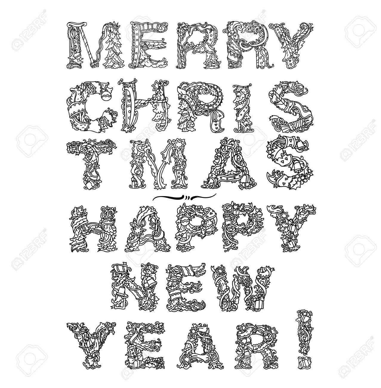 Kritzeln Weihnachten Happy New Year, Schriftzug Grußkartenentwurf ...