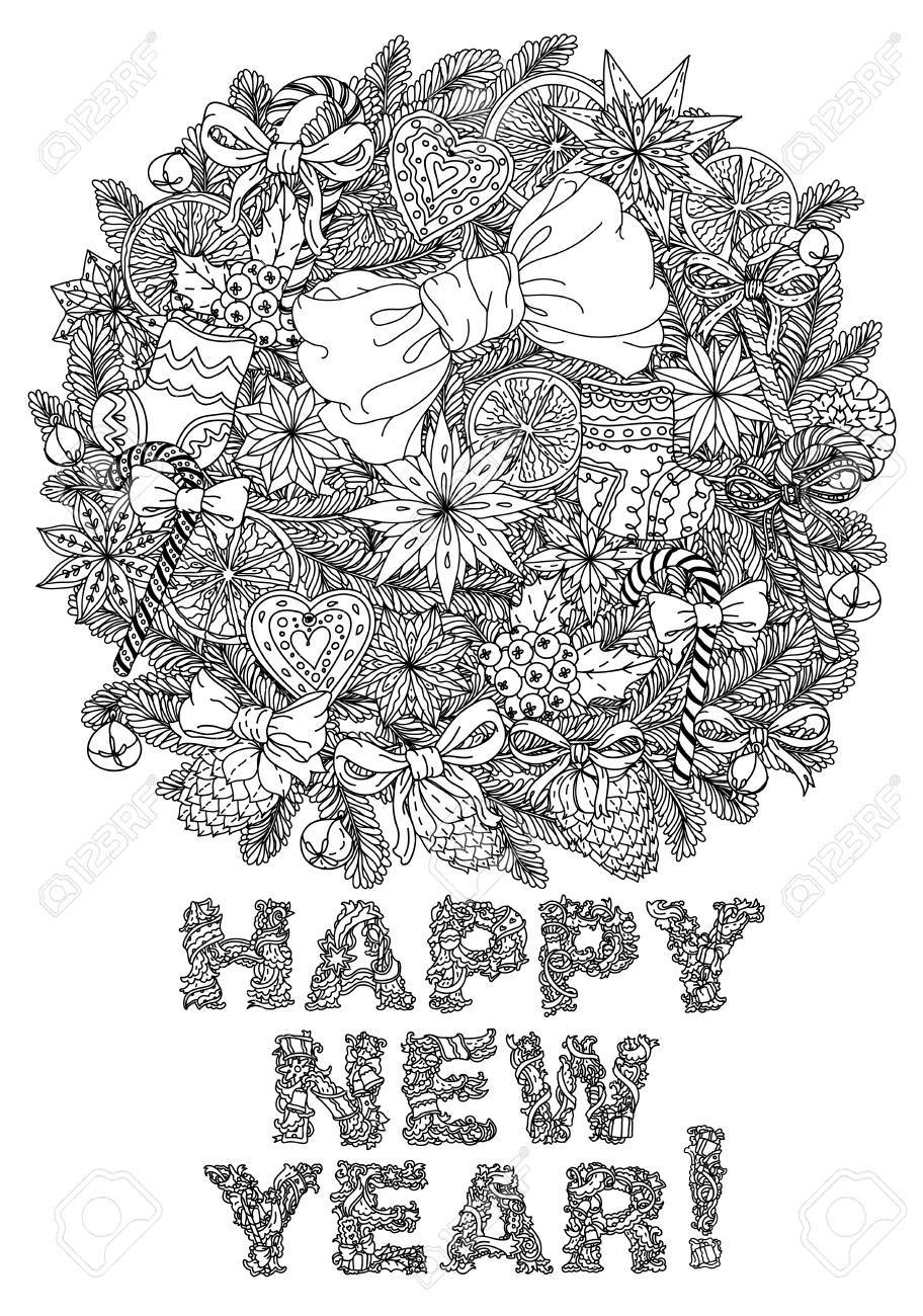 Doodle Christmas Happy New Year Lettering Greeting Card Design Illustration Line
