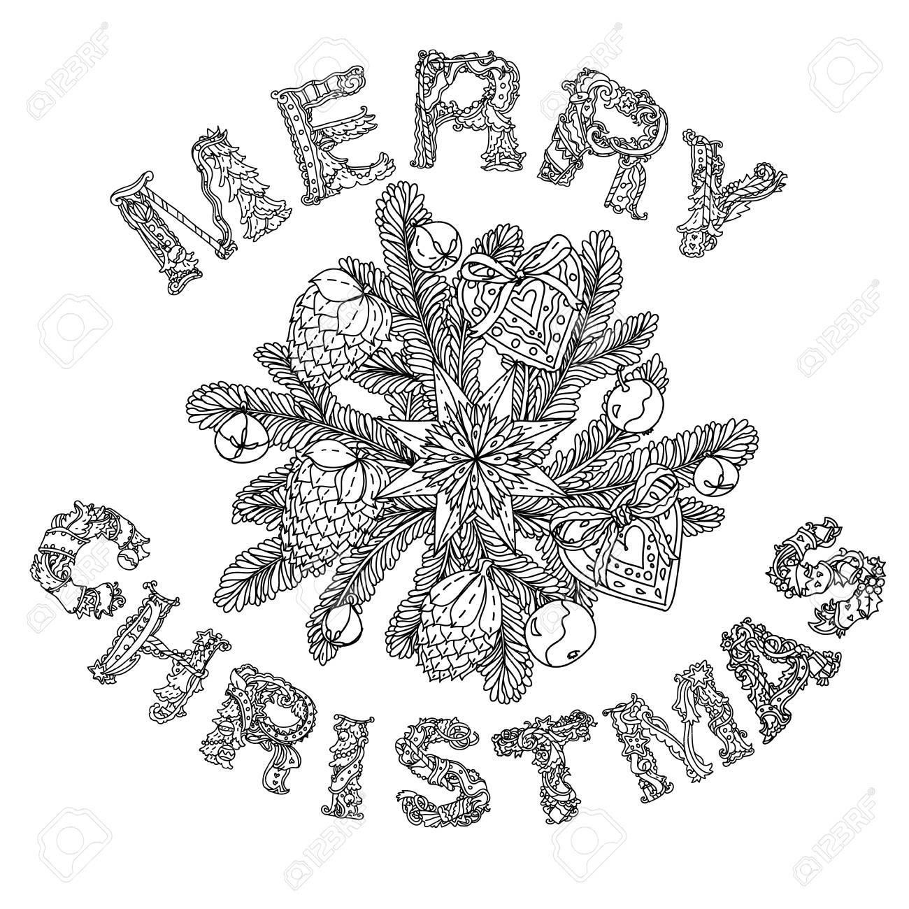 Doodle Frohe Weihnachten, Schriftzug Grußkarte Design .illustration ...