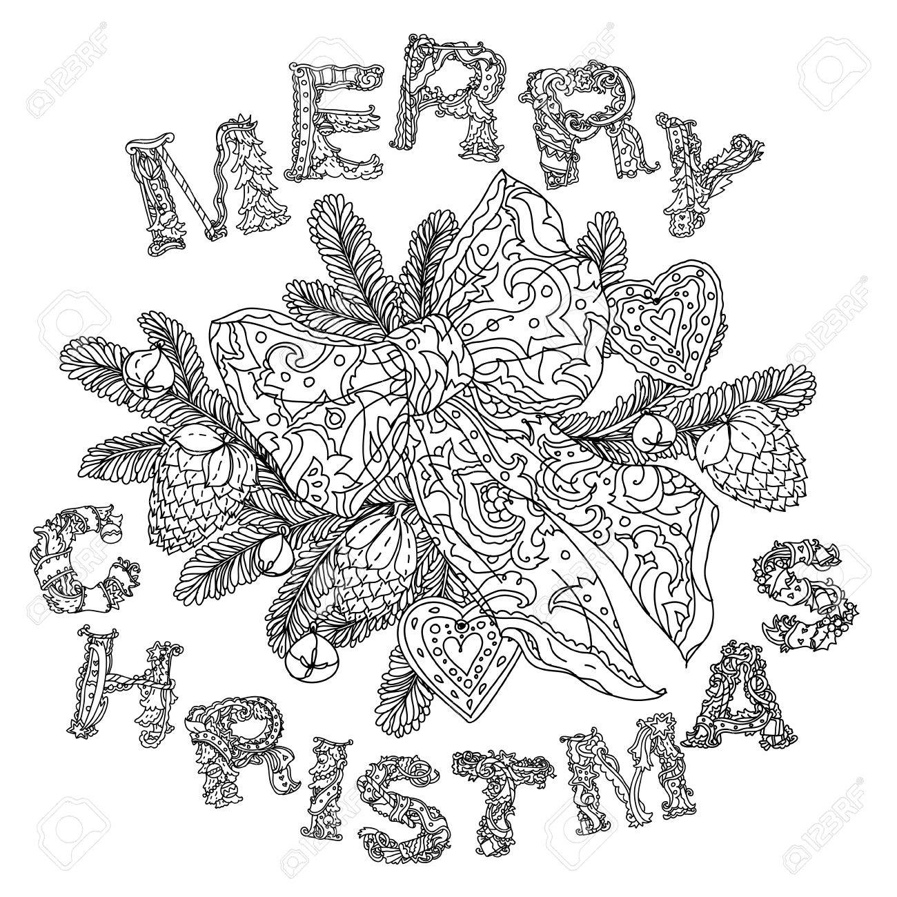 Doodle Merry Christmas Lettering Greeting Card Design Lustration