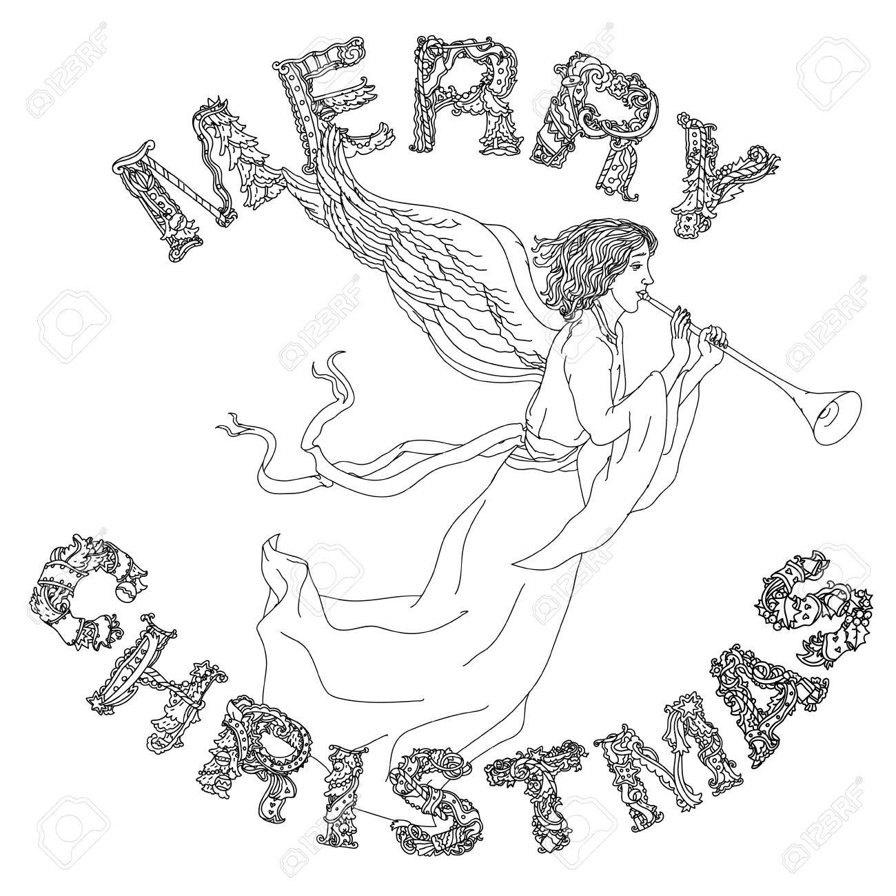 Kritzeln Frohe Weihnachten Engel, Schriftzug Karte Design ...