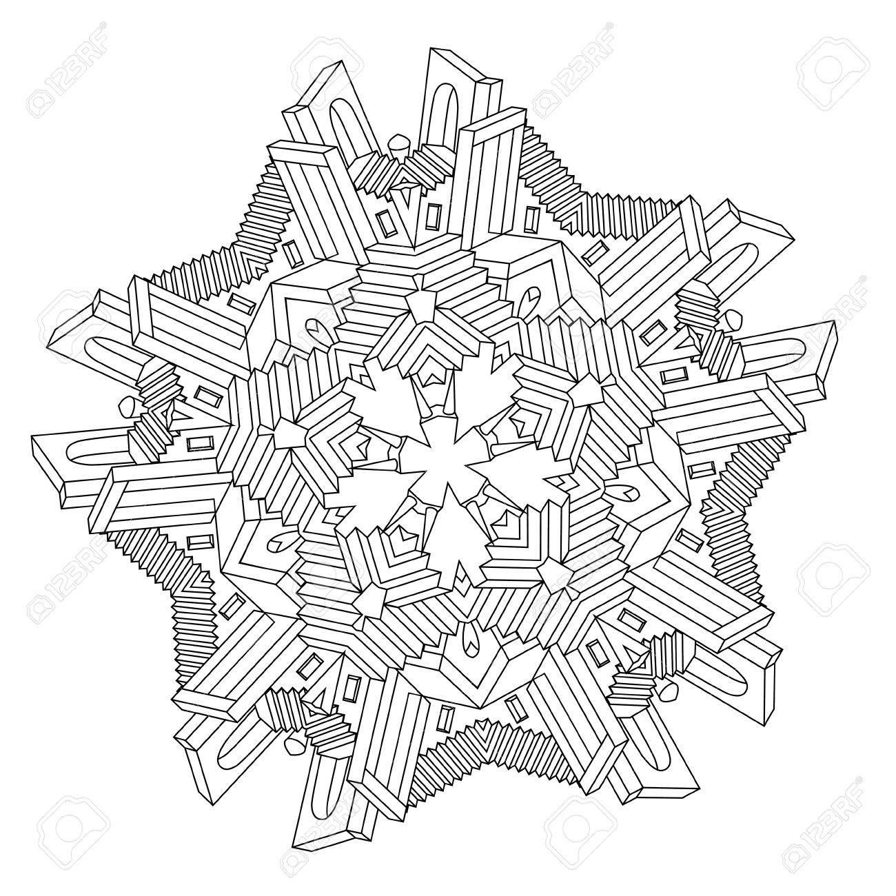 Mandala Forma Contorneada Como Laberinto De Caminos, Casas, Muros Y ...