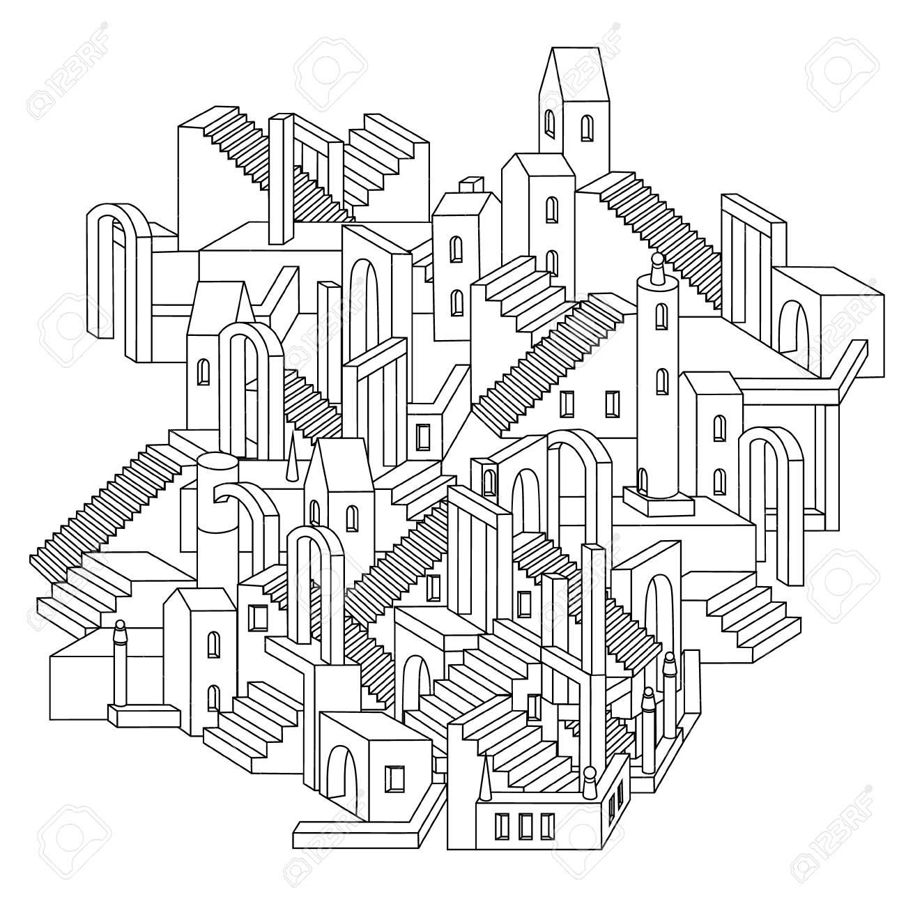 Dibujo De Un Laberinto Ciudad Irreal Inexistentes Con Casas Muros Y Escaleras Diseño De Rompecabezas Stylevector Ejemplo Del Arte Del Zen