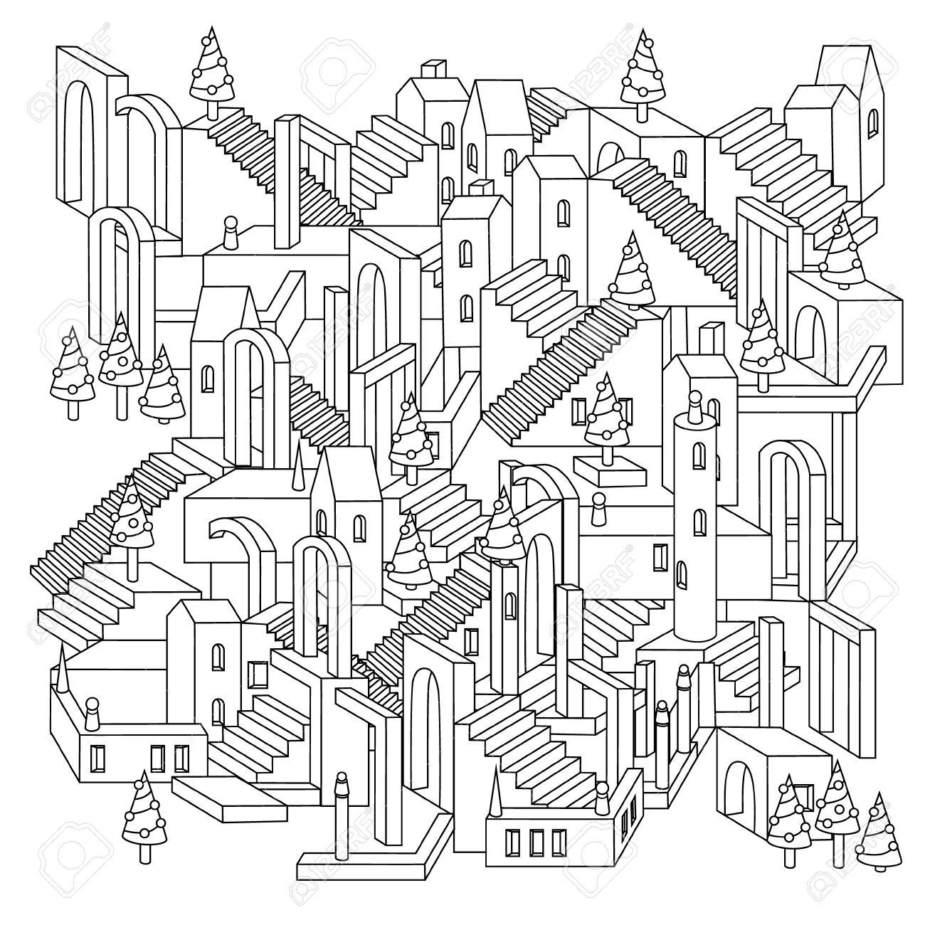 Dibujo De Un Laberinto Ciudad Irreal Inexistentes Con Casas, Muros Y ...