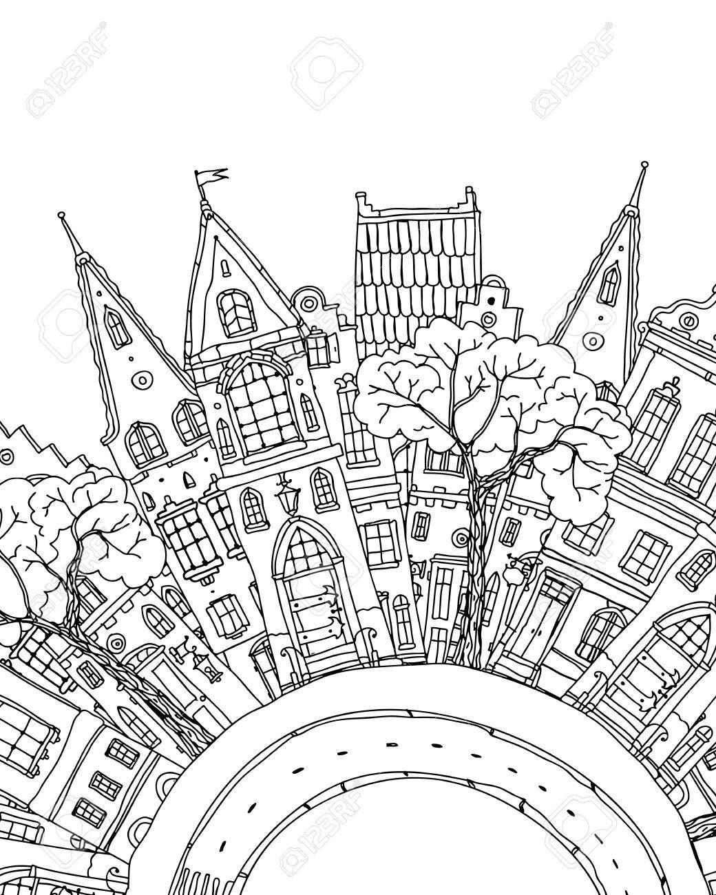 Libro Para Colorear Con Artísticamente Casa Mágica Ilustraciones ...