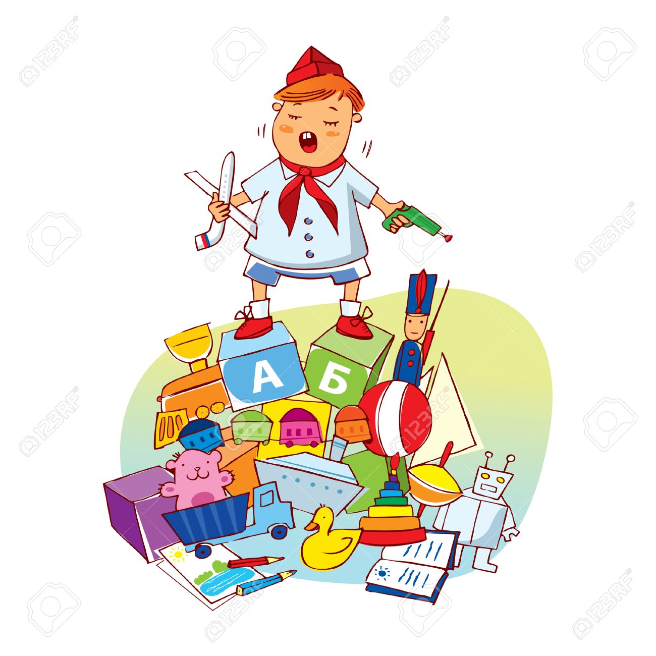 Little boy with toys.  illustration Stock Vector - 7429956