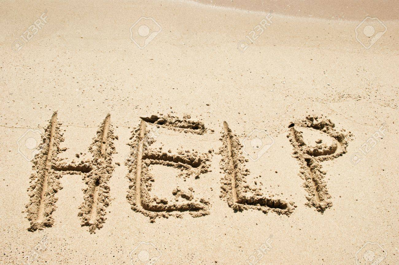 Help Sign On The Beach Stock Photo, Picture And Royalty Free Image ...