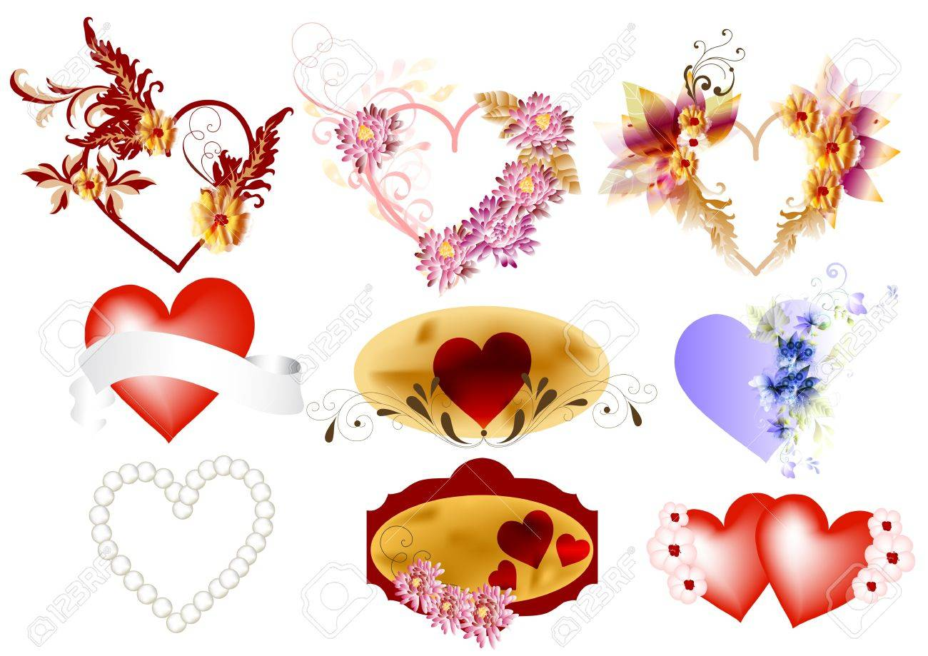 Hearts vector icons set  Valentines Stock Vector - 14372369