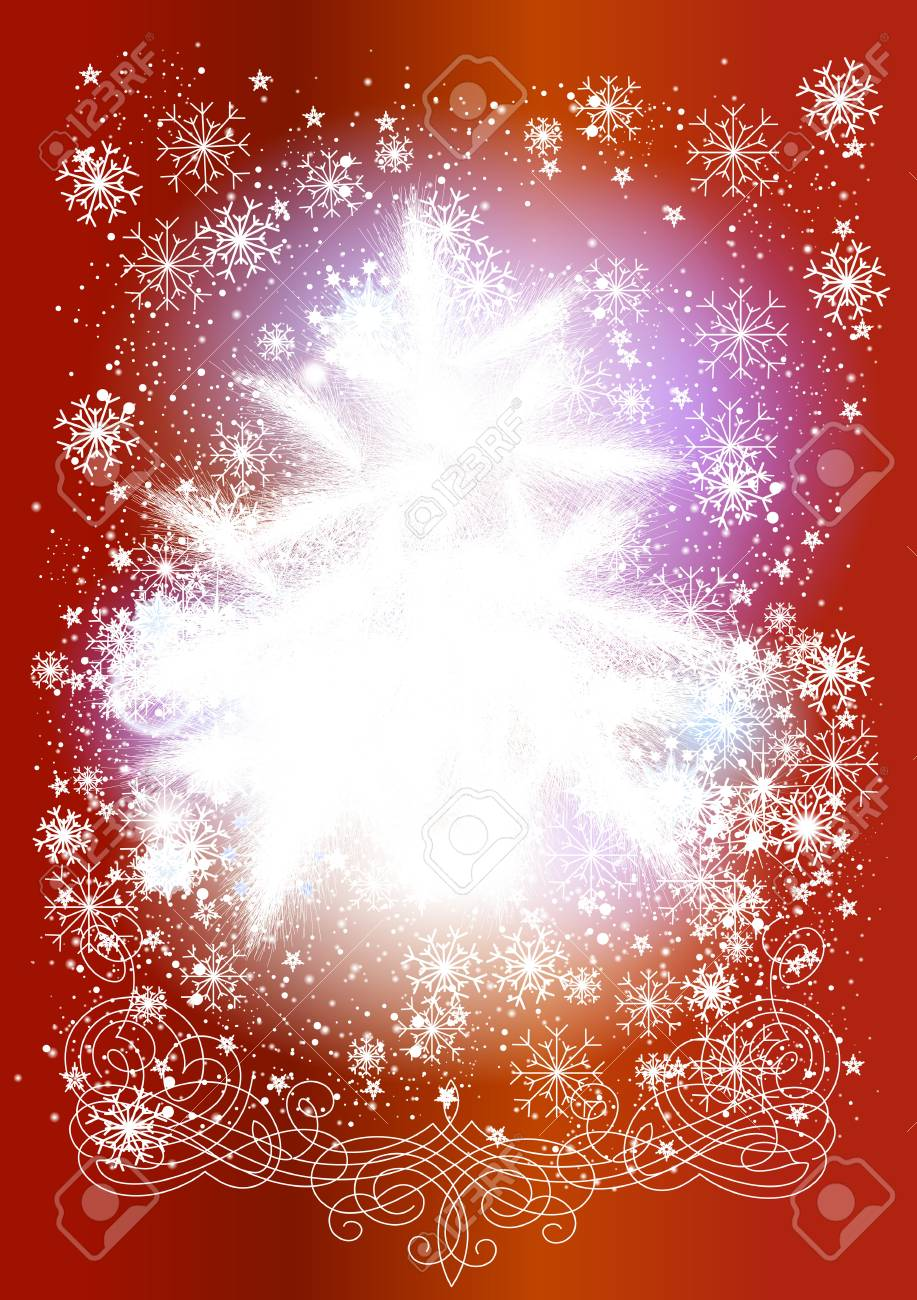 Christmas card in traditional style with fur tree and snowflakes  Christmas vector Stock Vector - 14463367