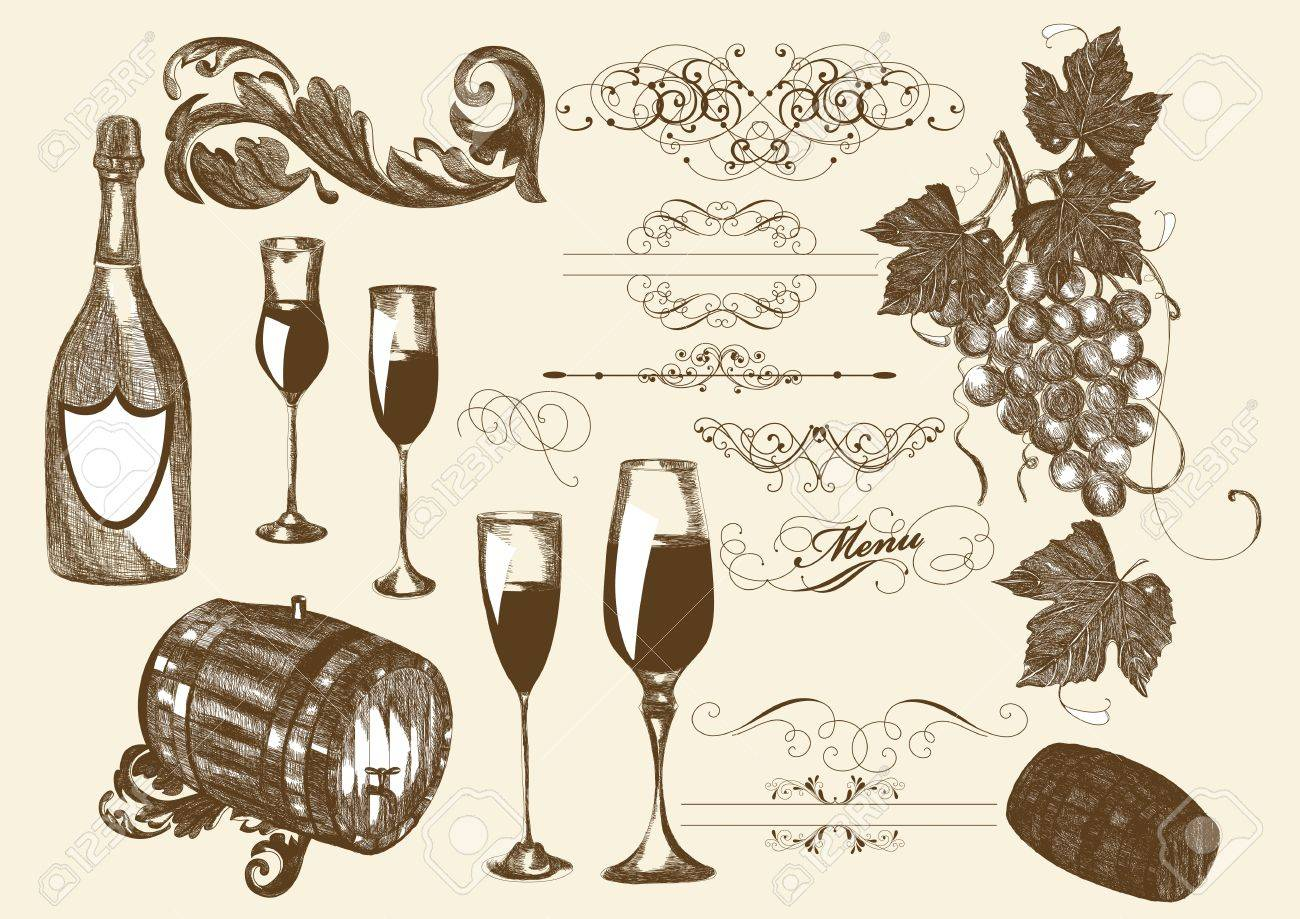hand drawn set vector set of wine and winemaking elements. Wine Stock Vector - 14890087
