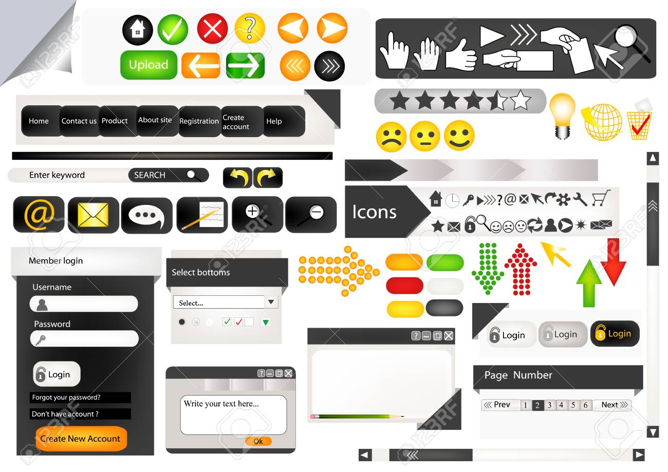 Set of web elements for  your design Stock Vector - 15316021