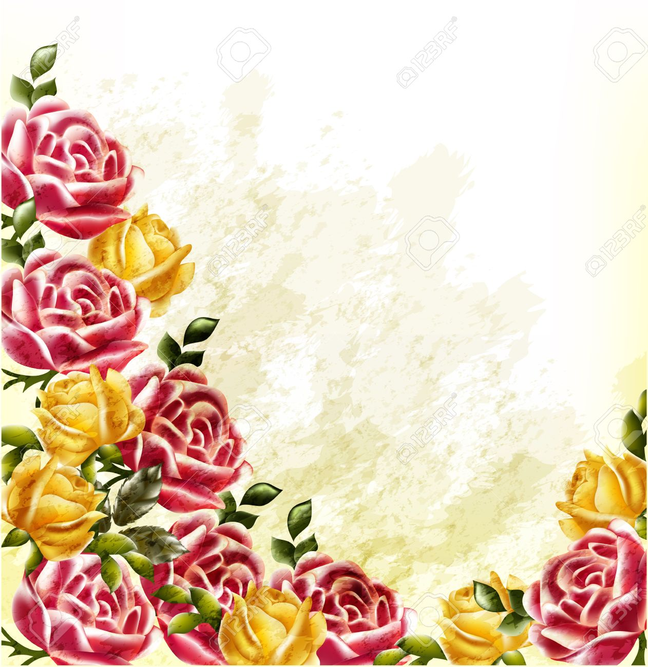 Elegant background with roses painted in watercolor retro style Stock Vector - 17048756