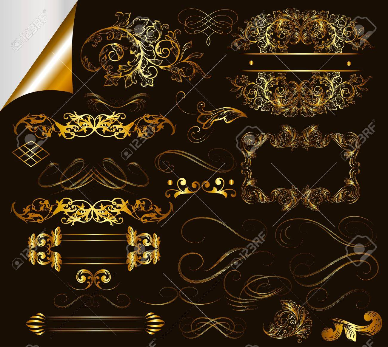 Calligraphic ornate decorative elements  Calligraphic Stock Vector - 17474989