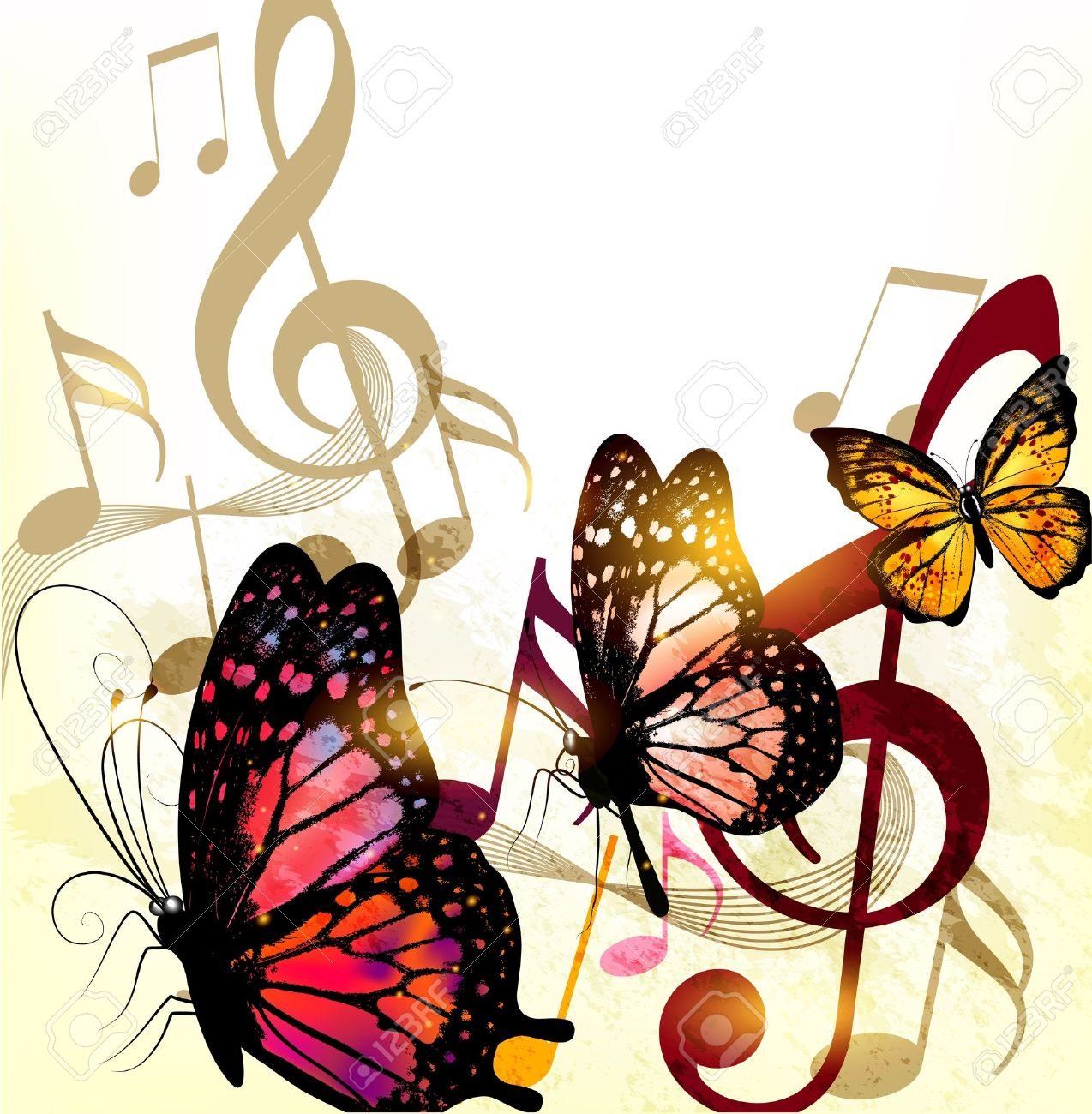 Grunge  fashion music background with butterflies and notes Stock Vector - 18123036