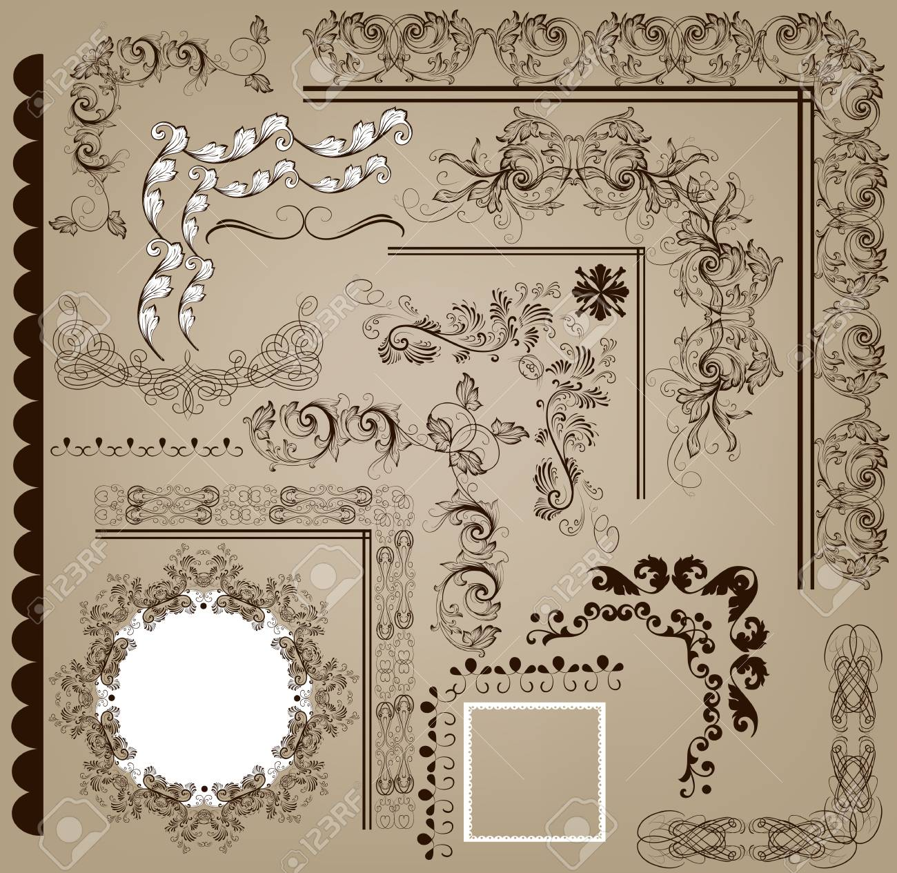 Vector set of calligraphic elements for design  Calligraphic vector Stock Vector - 18255404