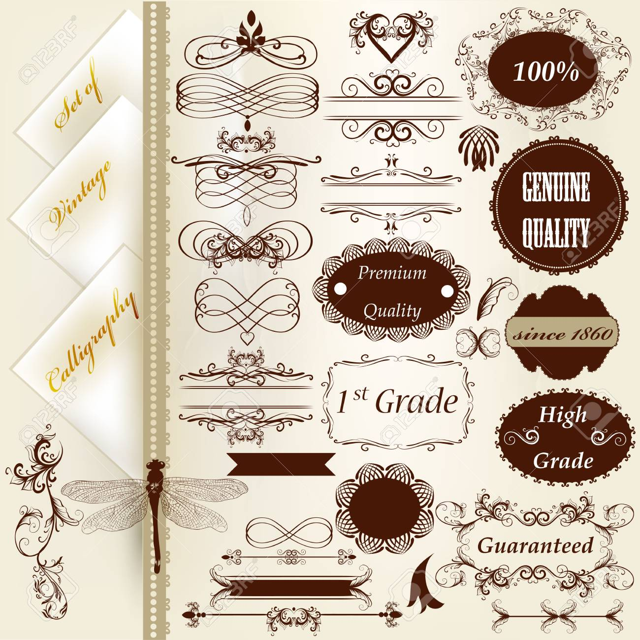 Set of vector labels or calligraphic design elements Stock Vector - 18707599