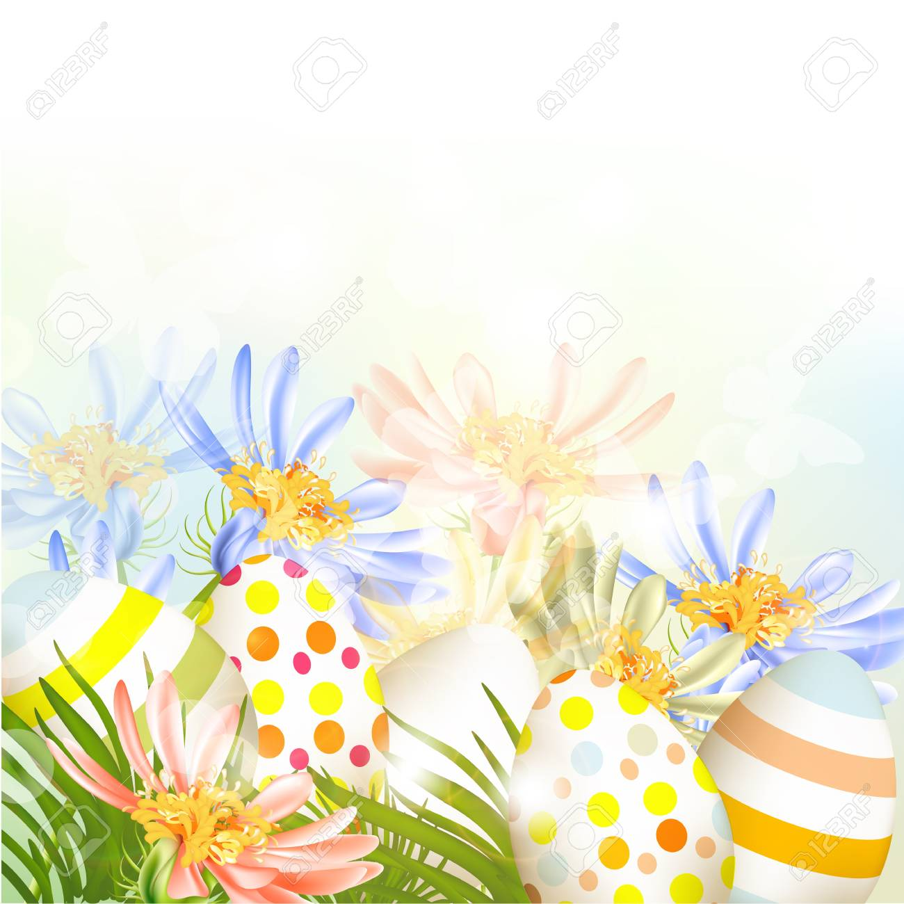 Cute Easter outdoor background with clear space, grass and eggs Stock Vector - 18707614