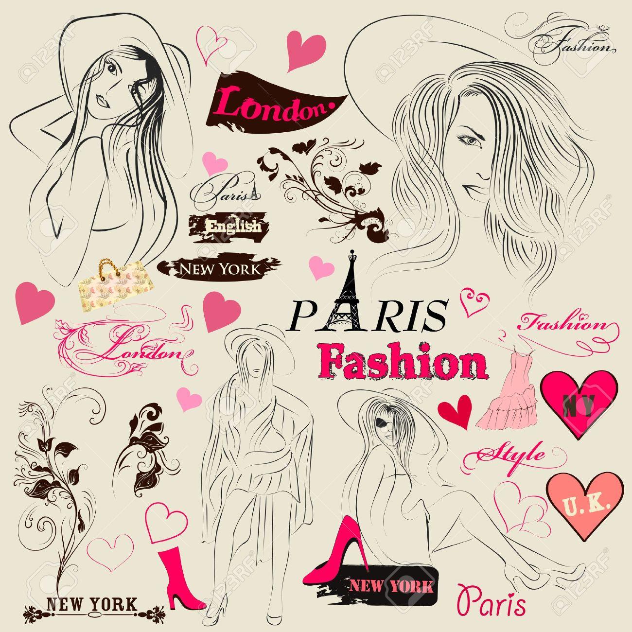 Conjunto De Vectores De Dibujo Con Las Chicas De Moda Joven Para El